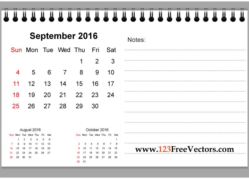 September 2016 Printable Calendar With Notes | Printable Printable 2016 Calendar With Notes
