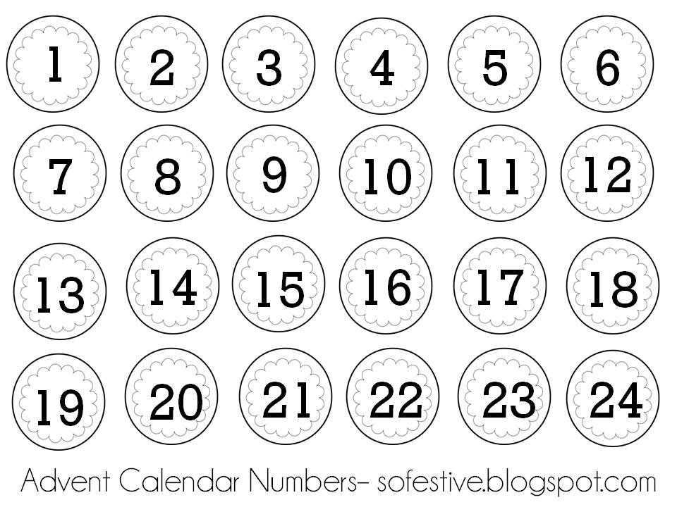 So Festive!: Advent Calendar Ideas Printable Numbers 1 – 31