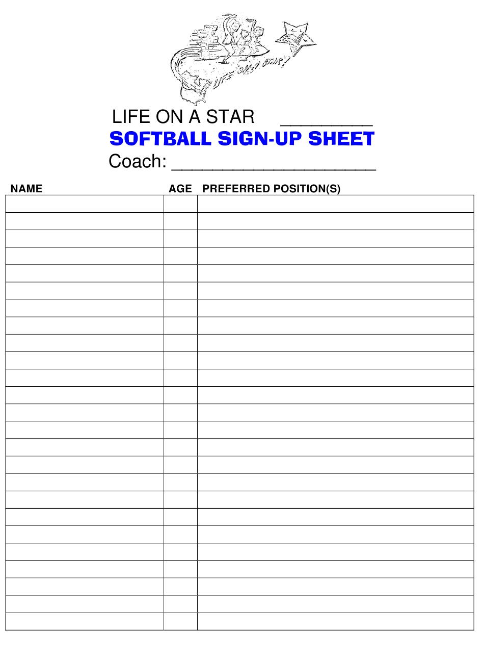Softball Sign Up Sheet – Life On A Star Download Printable On Callalendar Sign Up Template