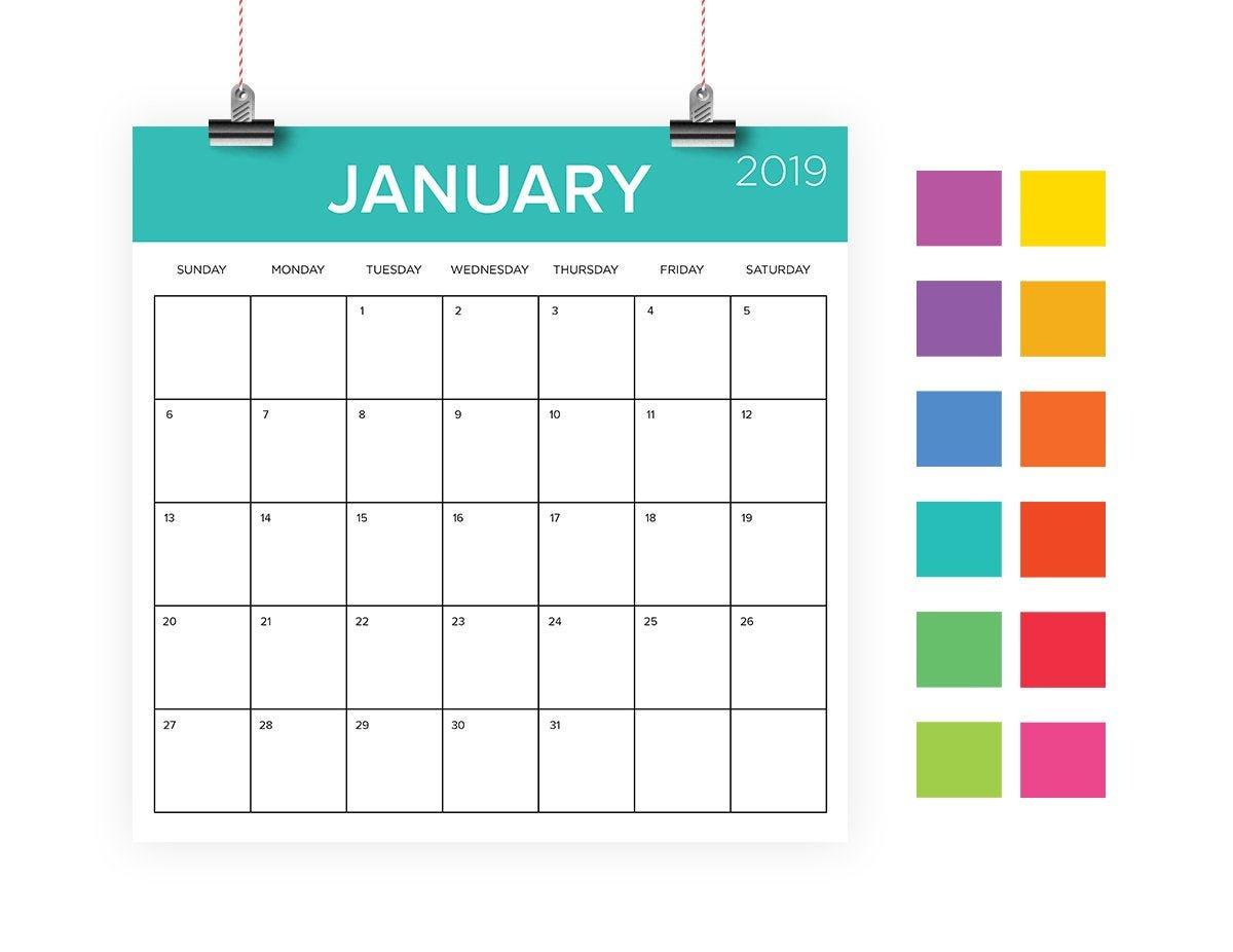 Square 2019 Calendar Template Instant Download Color Coded Large Square Calendar Template