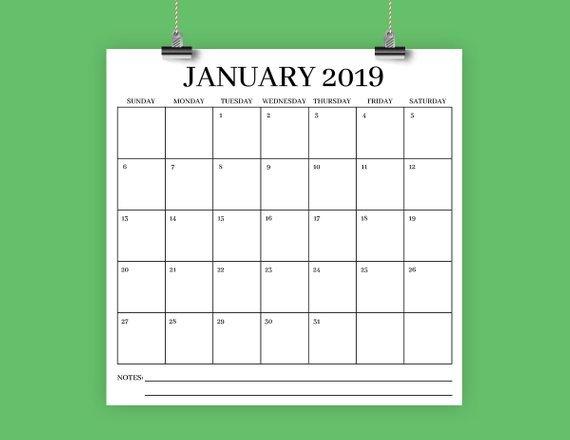 Square 2019 Calendar Template   Instant Download   Serif Large Square Calendar Template
