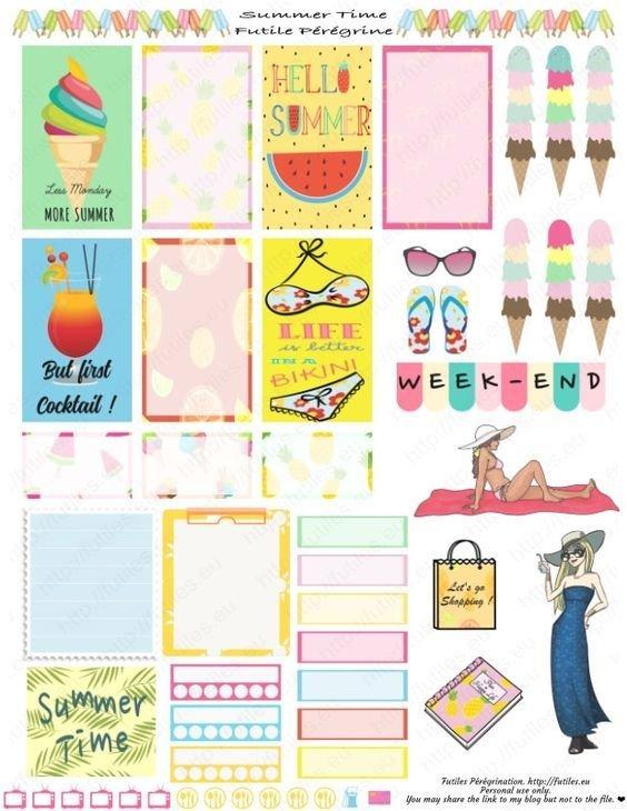 Stickers À Imprimer Pour Planners Summer Time (Free 81/2 X 11 Calenar Pages