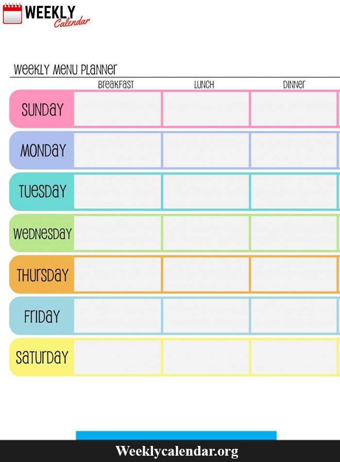 Sunday Thru Saturday Blank Calendar   Calendar Printables Sunday Through Saturday Planner
