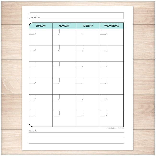 Teal Monthly Weekly Calendar Planner Pages – Printable Make Of Copy Of Blank Monthly Calendar 8 1/2 By 11