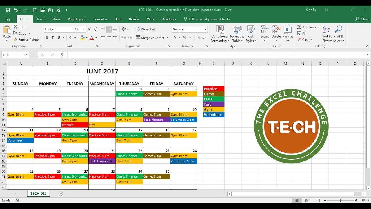 Tech 011 – Create A Calendar In Excel That Automatically Free Interactive Calendar Templates