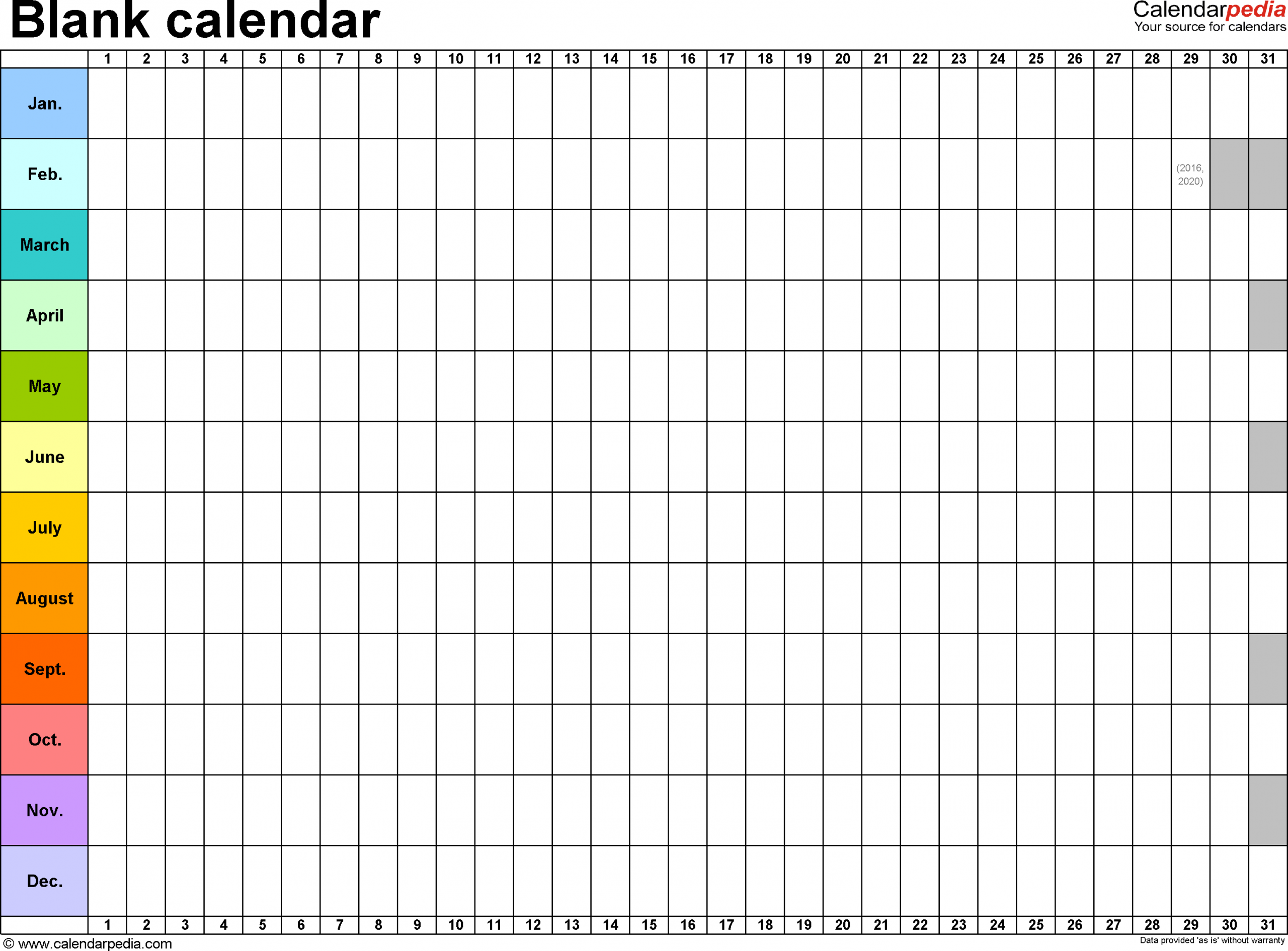 Template 2: Excel Template For Blank Calendar (Landscape Free Fill In Birthday Calendar