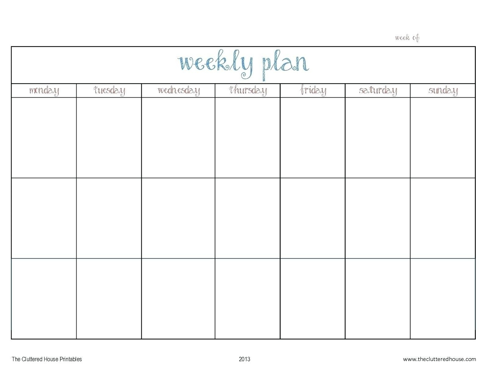 Template For Monday To Friday | Example Calendar Printable Monday Through Friday Week Calendar