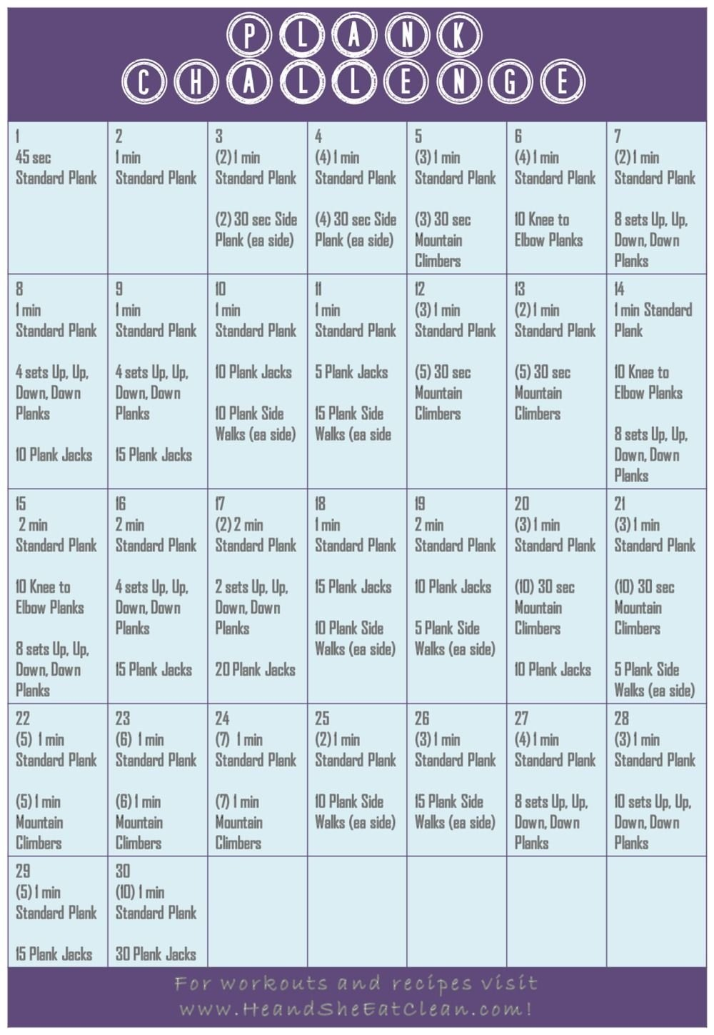 The 30 Day Plank Challenge Calendar | Get Your Calendar Printable 30 Day Plank Challenge