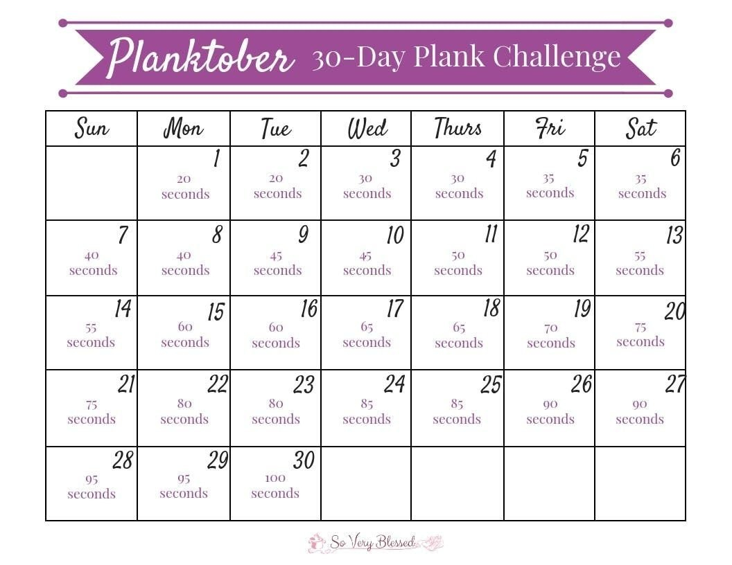 The 30 Day Plank Challenge Calendar | Get Your Calendar Printable 30-Day Plank Challenge