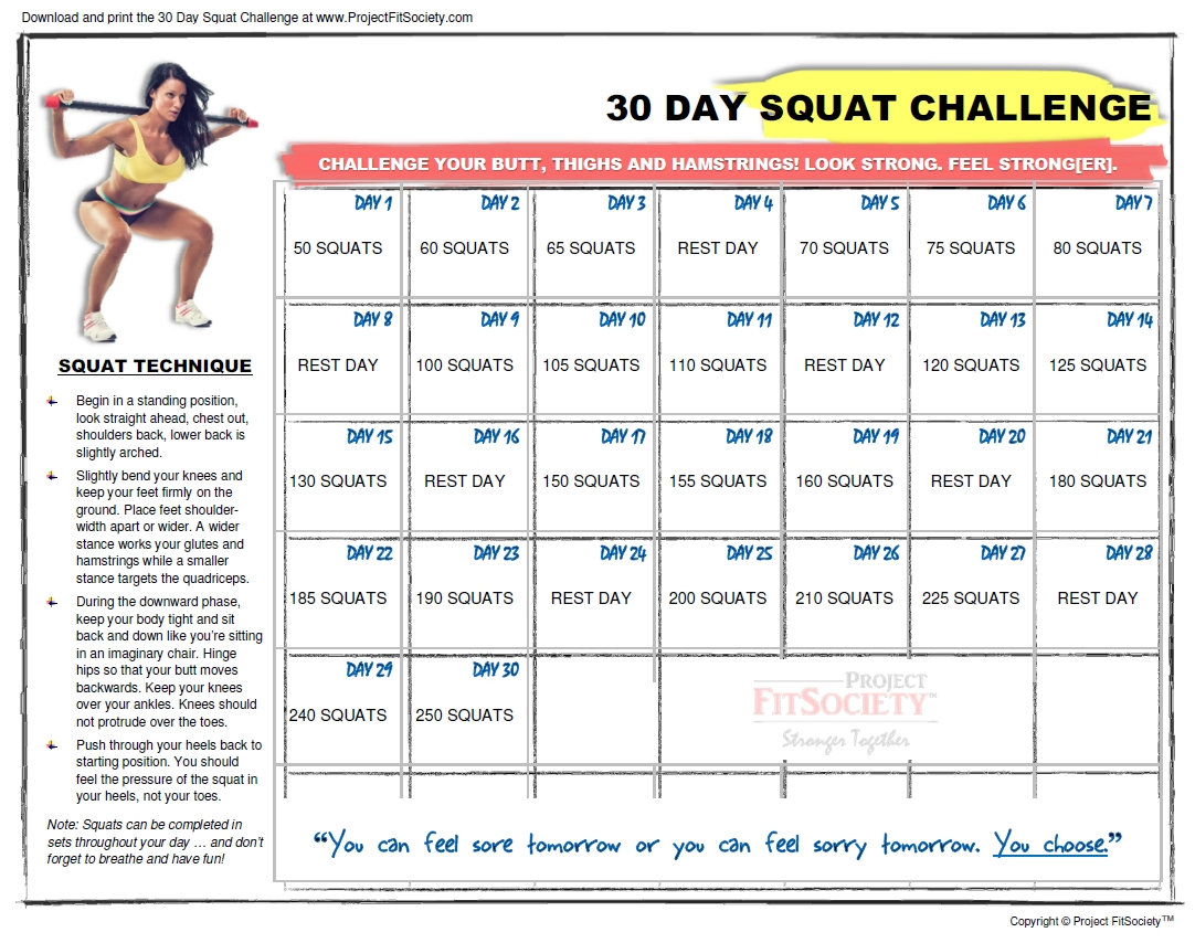 The 30 Day Squat Challenge Schedule Calendar | Get Your Printable 30 Day Plank Challenge