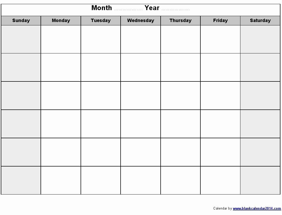 The Blank Sunday Through Saturday Calendar   Get Your Word Calendar Template Monday – Sunday