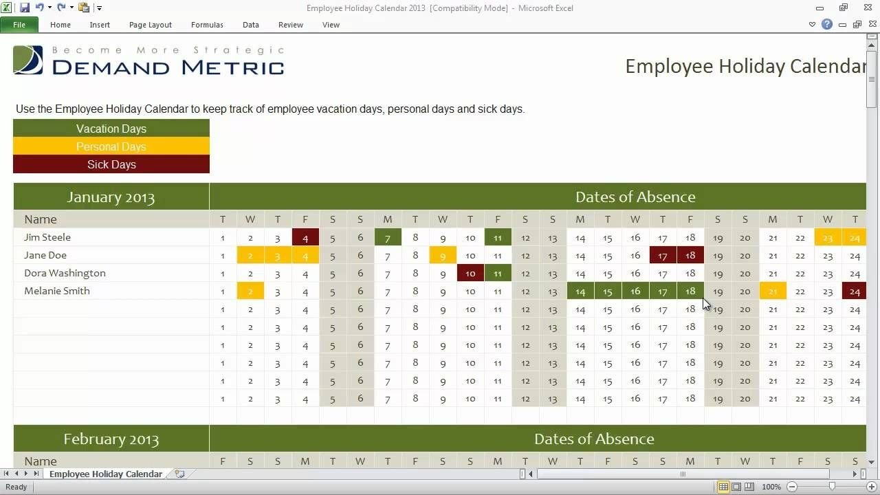 The Holiday Time Off Calendar Excel   Get Your Calendar Time Off Calender Template