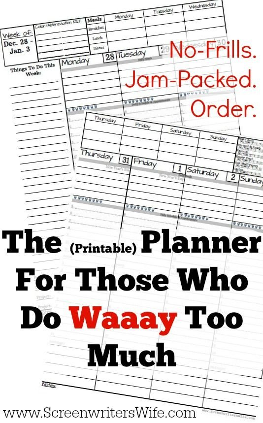 The Weekly 2020 Planner For Those Who Do Too Much. Waaay No Frills Printable Calendar