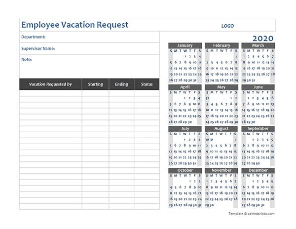 Time Off Calendar Excel Graphics   Calendar Template 2020 Free Template For Employee Time Off Calendar