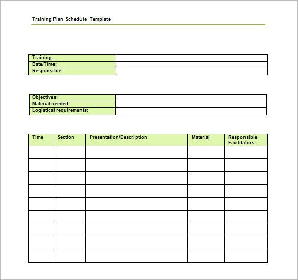 Training Schedule Template - 11+ Free Sample, Example School Time Schedule Exercise Fill Blanks