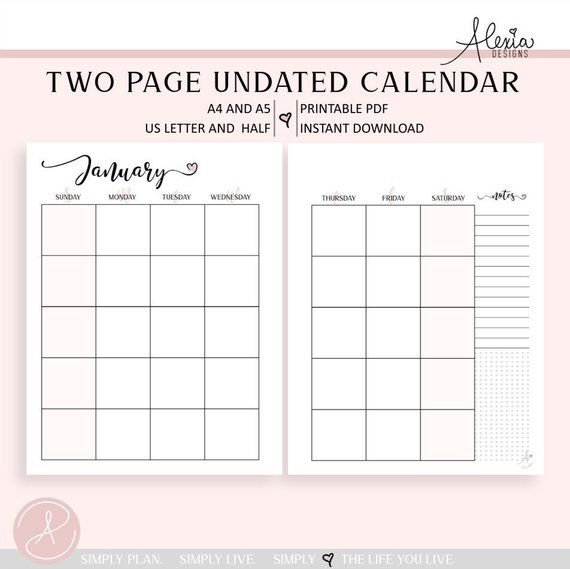 Two Page Undated Monthly Calendar – Printable Pdf Weekly 2 Page Calendar