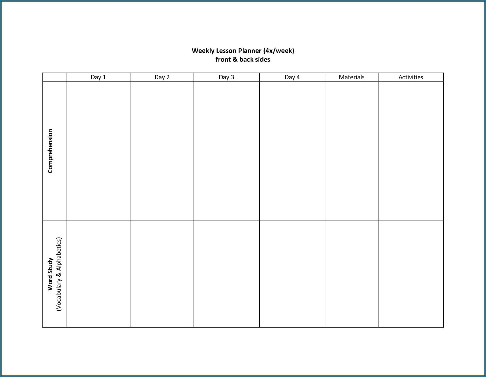 Two Week Schedule Template   Example Calendar Printable Monday To Friday Schedule Template With Four Weeks