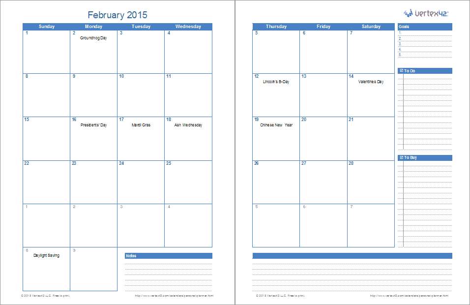 Ultimate Personal Planner Template For Excel Weekly 2 Page Calendar