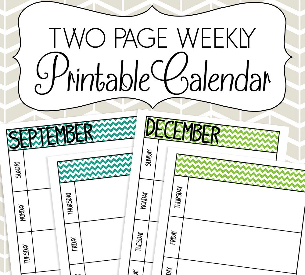 Undated Two Page Weekly Calendar Printable Colorful Chevron Calendar Week On On Page