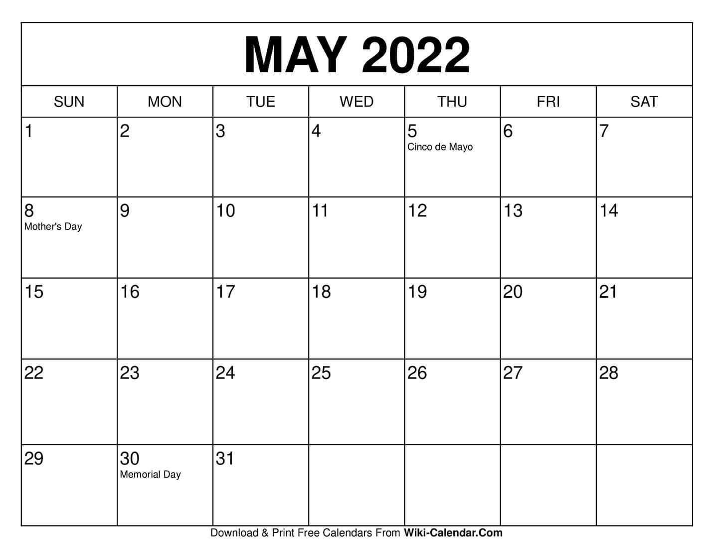 Universal Blank 30 Day Calendar Starting May 24 For 30 Day Printable Calender