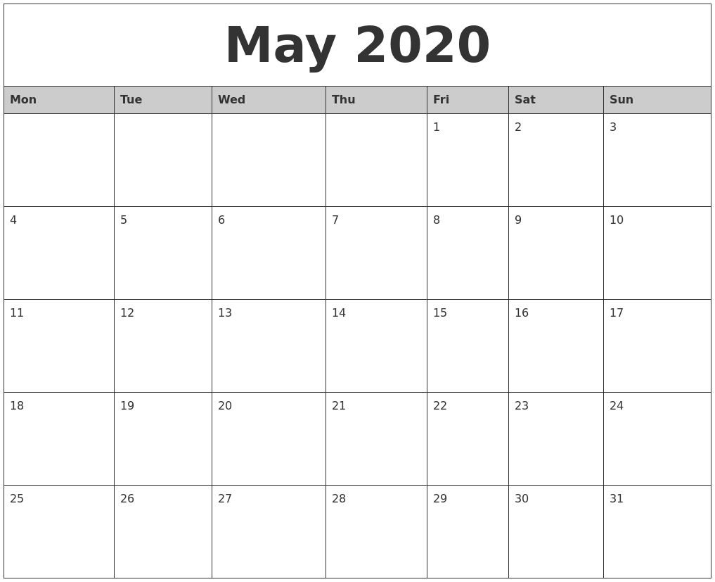Universal Blank 30 Day Calendar Starting May 24 In 2020 Blank 30 Day Calender Printable