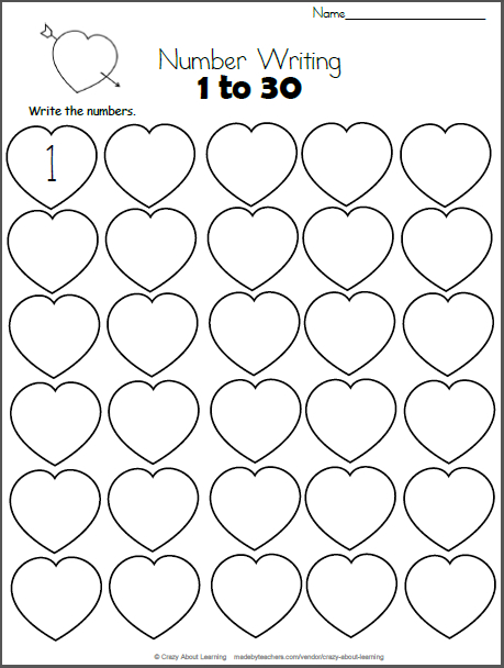 Valentine'S Day Math – Numbers 1 To 30 | 1 Класс Days Numbered 1 To 365