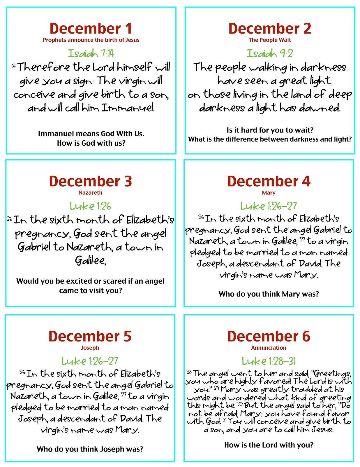 Verses & Discussion Questions For Advent Calendar | Advent Daily Scripure Prayer Calendar