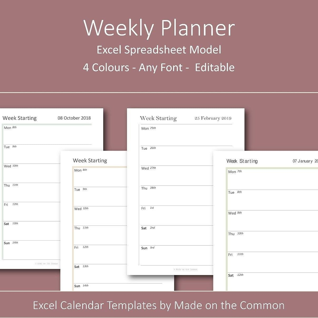 Week On 1 Page Excel Calendar Template Dated Spreadsheet Calendar Week On On Page
