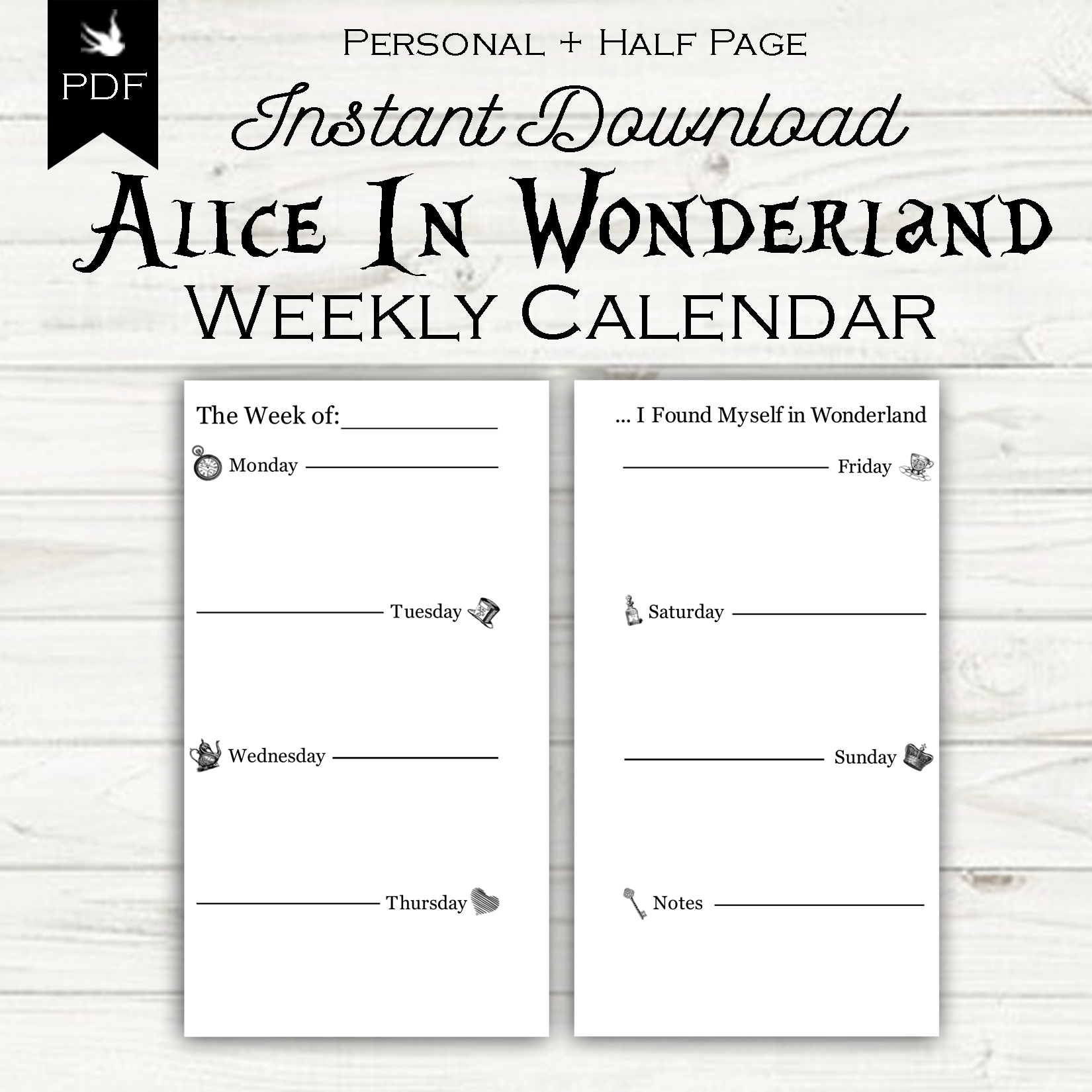 Week On Two Pages – Alice In Wonderland – Sixth & Sparrow Printable Calendar 8 1/2 X 5.5