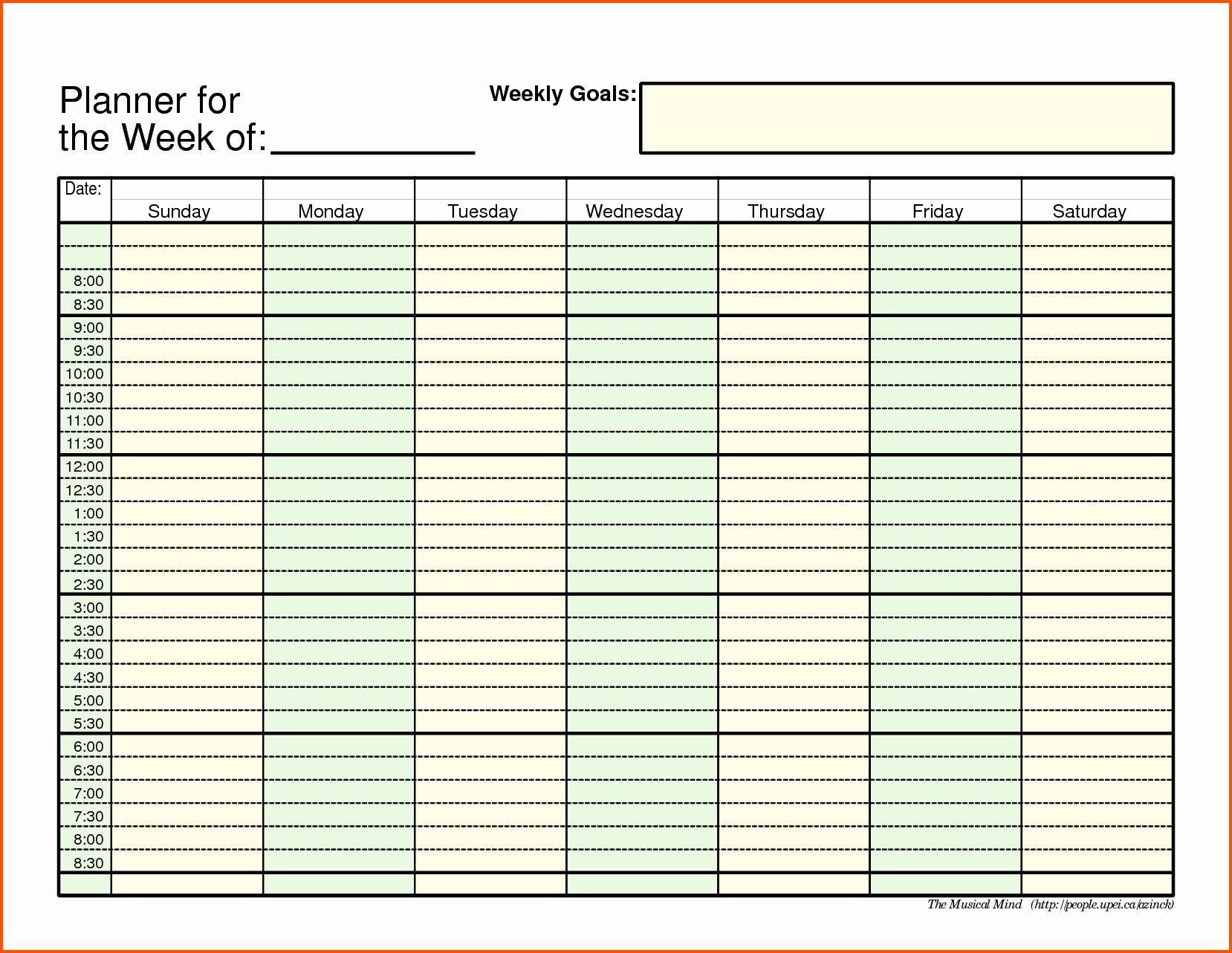 Week Schedule Template Pdf Luxury Weekly Schedule Template Printable Calendar With Hourly Slots