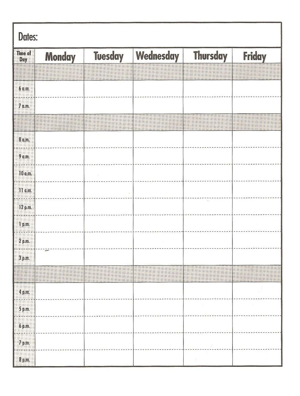 Weekday #Schedule Template/Print Out #Education #School Printable Time Slot Day