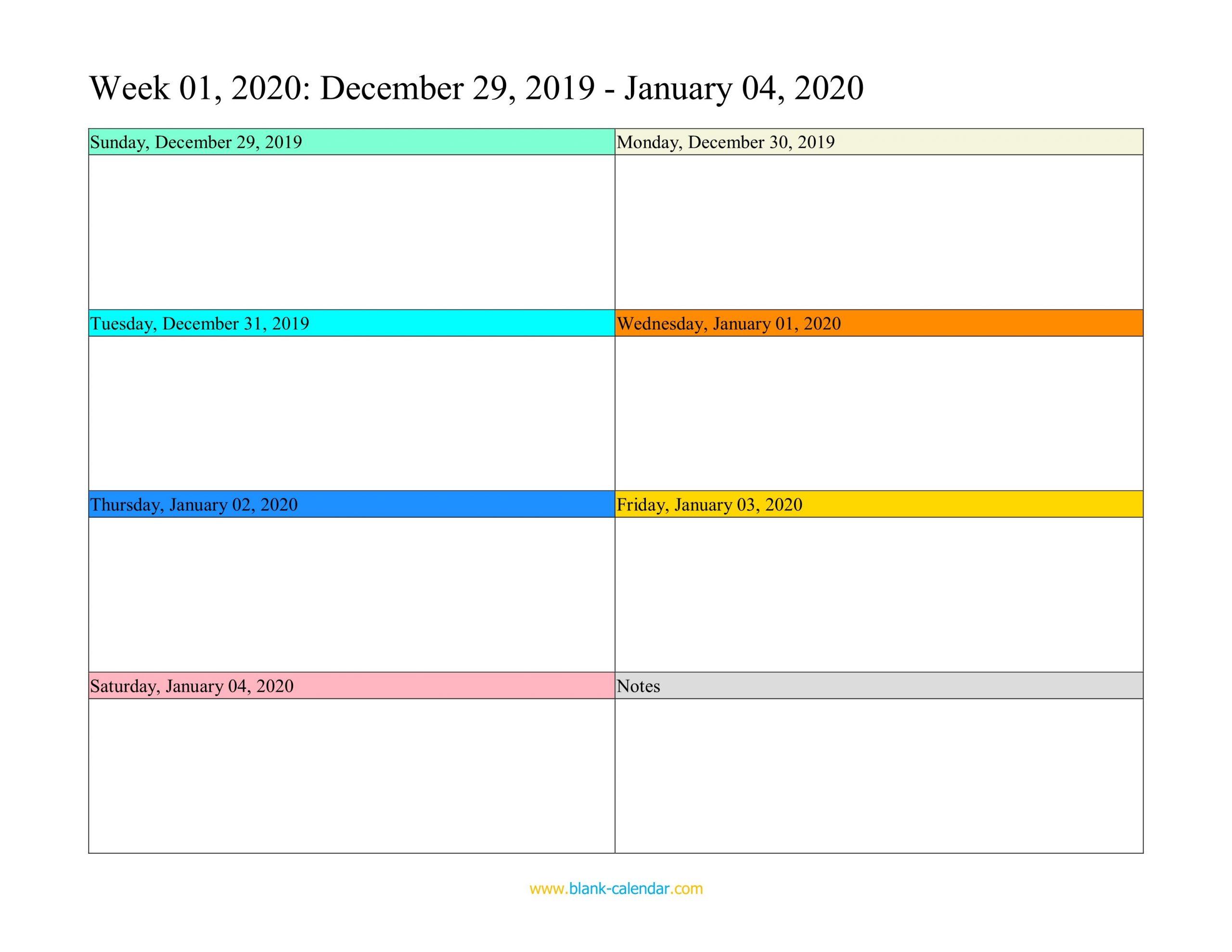 Weekly Calendar 2020 (Word, Excel, Pdf) Free Fillable Weekly Schedule