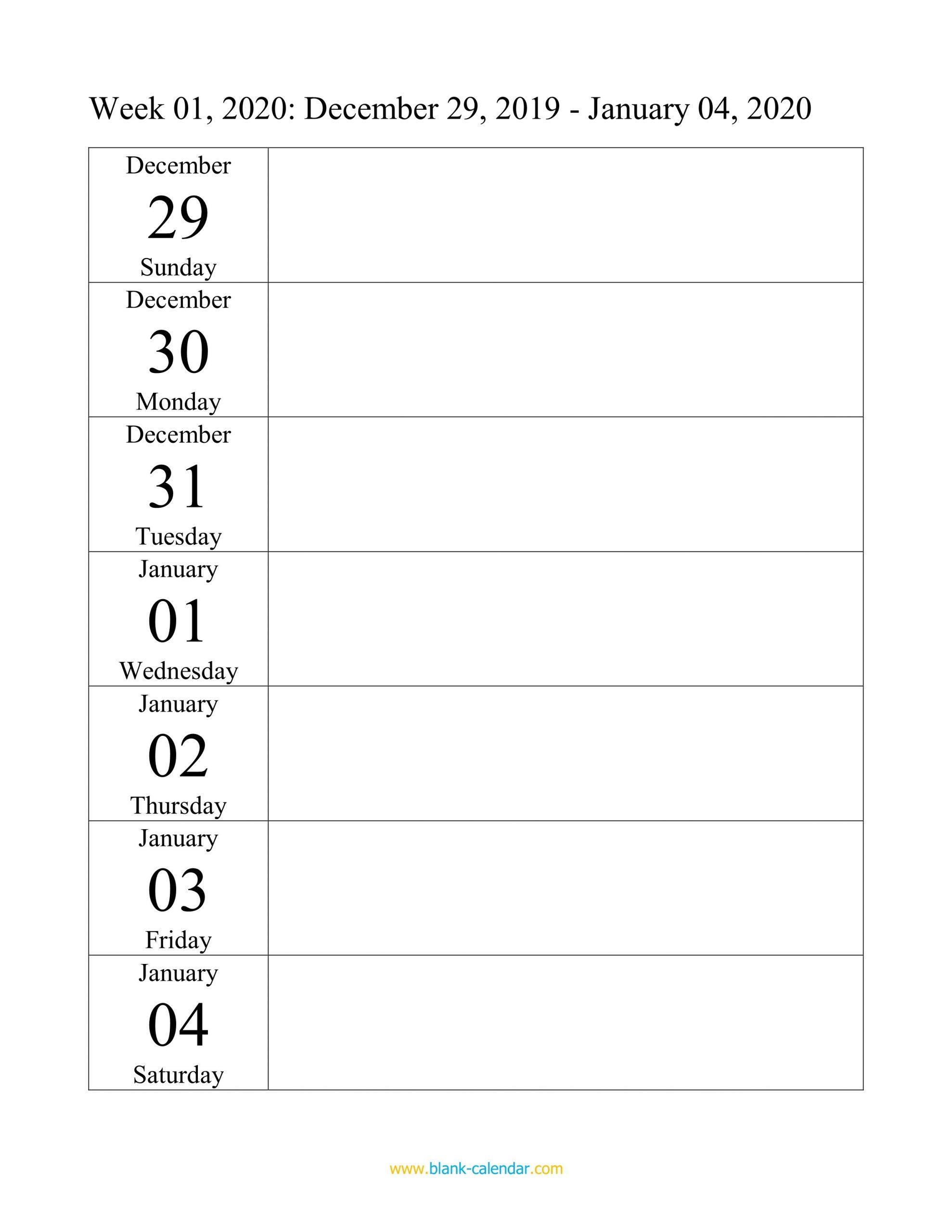 Weekly Calendar 2020 (Word, Excel, Pdf) Printable 2020 Calendar Free Saturday To Friday