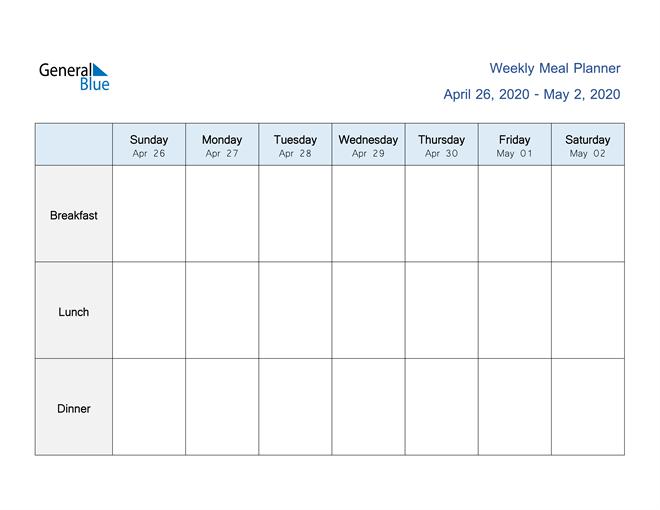 Weekly Calendar – April 26, 2020 To May 2, 2020 – (Pdf Two Week Calendar Pdf