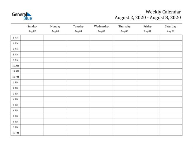 Weekly Calendar – August 2, 2020 To August 8, 2020 – (Pdf 2 Week Calendar Editable