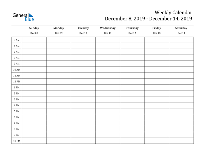 Weekly Calendar – December 8, 2019 To December 14, 2019 Daily Calendar With Time Slots Month View