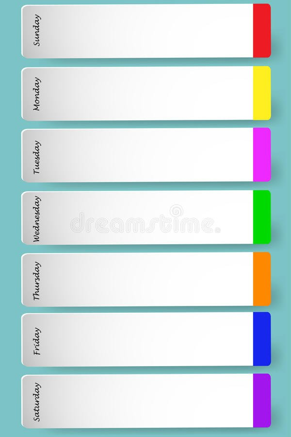 Weekly Calendar For Notes Stock Vector. Image Of Color One Week Monday Through Saturday Communication Calendar