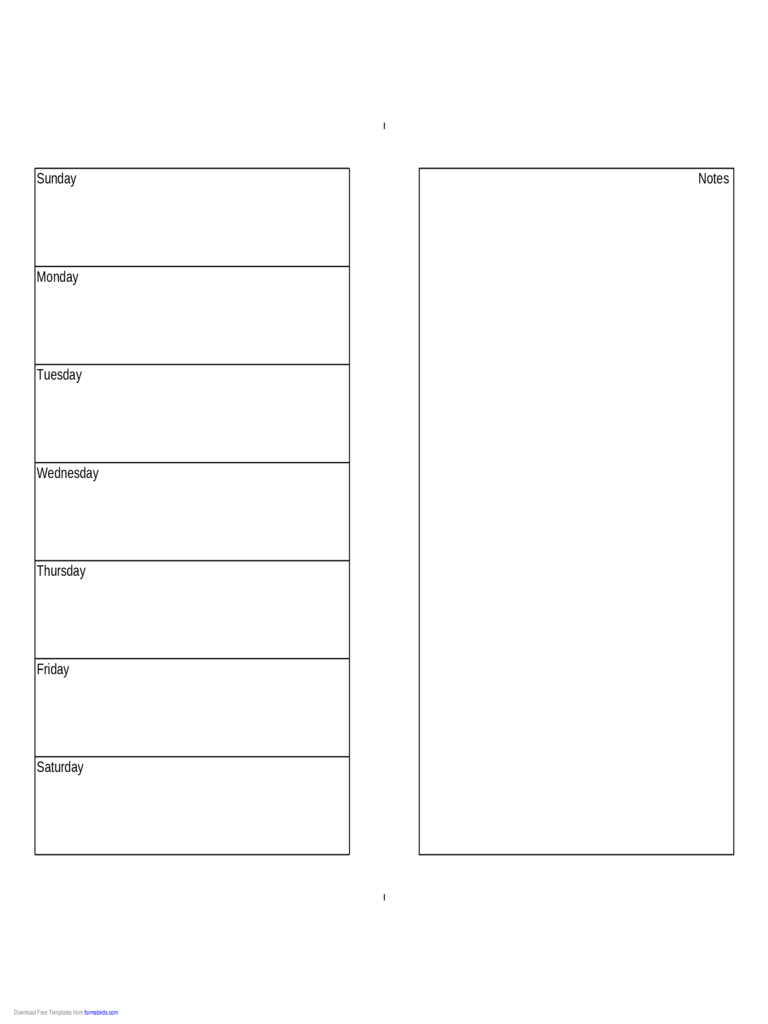 Weekly Calendar (Half Page With Notes On Right) – Edit Half Sheet Calendar Template Free
