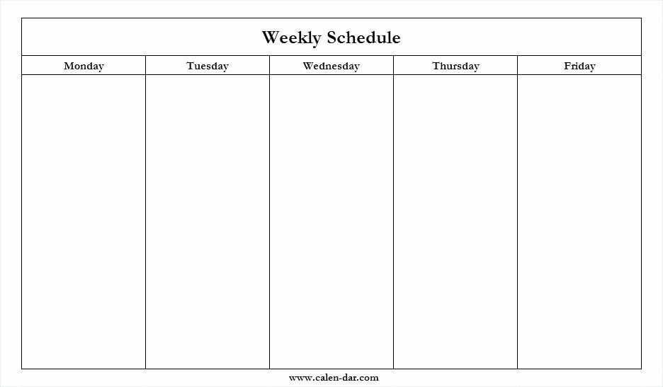 Weekly Calendar Printable Monday To Sunday Graphics Blank Calendar Template Monday Friday
