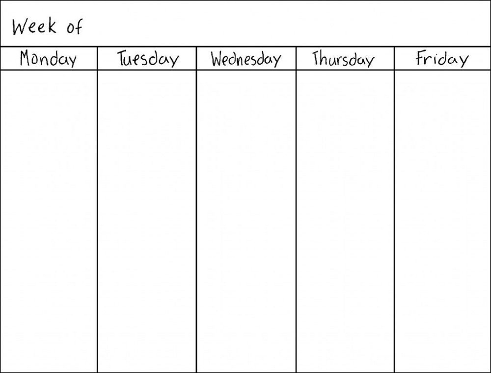 Weekly Calendar Printable Monday To Sunday Graphics Blank Monday Through Sunday Schedule