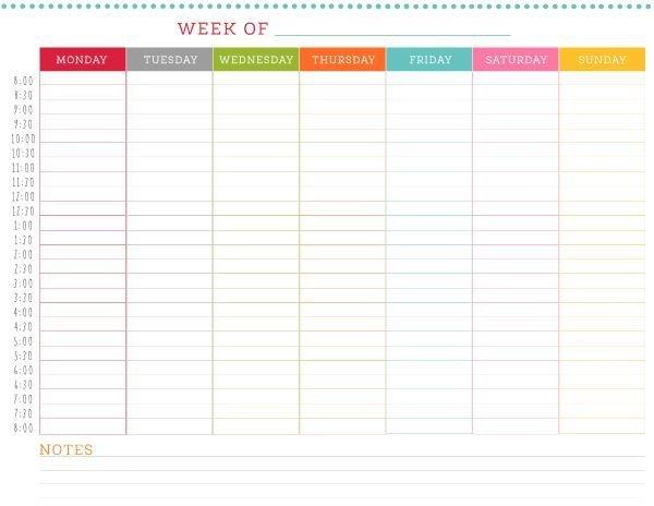 Weekly Calendar Printable Week Day Calendar With Hour Slots