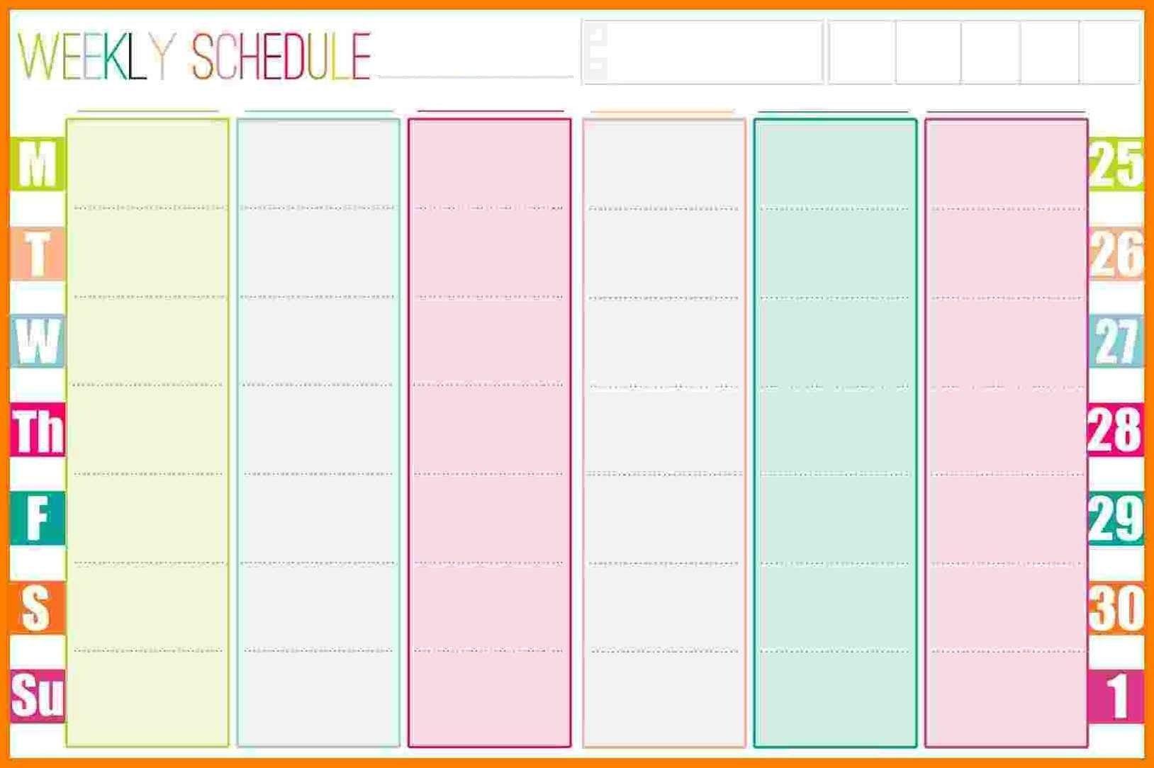 Weekly Calendar Template – 2019 Weekly Calendar Excel 8 Week Calendar Pdf