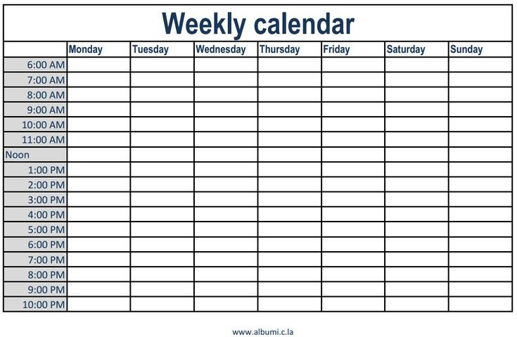 Weekly Calendar With Time Slots Excel Calendar Template Weekly Printable Calendar With Time Slots Free