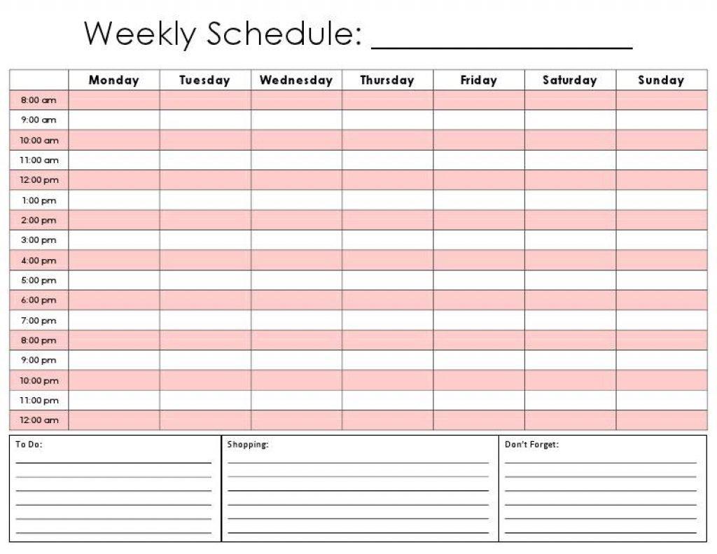 Weekly Calendarhour – Calendar Printable Week 1 Week Schedule Template