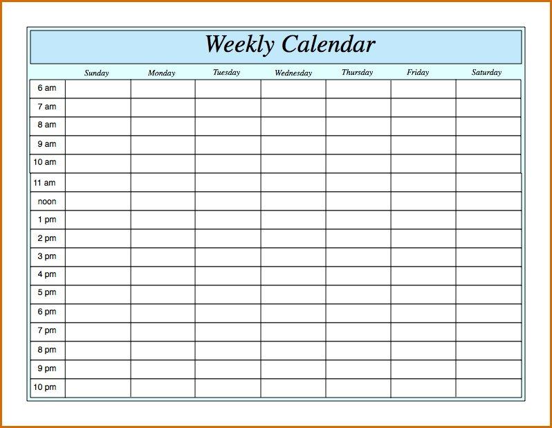 Weekly Calendarhour – Calendar Printable Week Daily Hour By Hour Printable Calendar