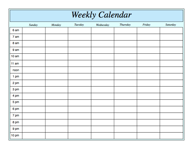 Weekly Calendarhour Week Day Calendar With Hour Slots
