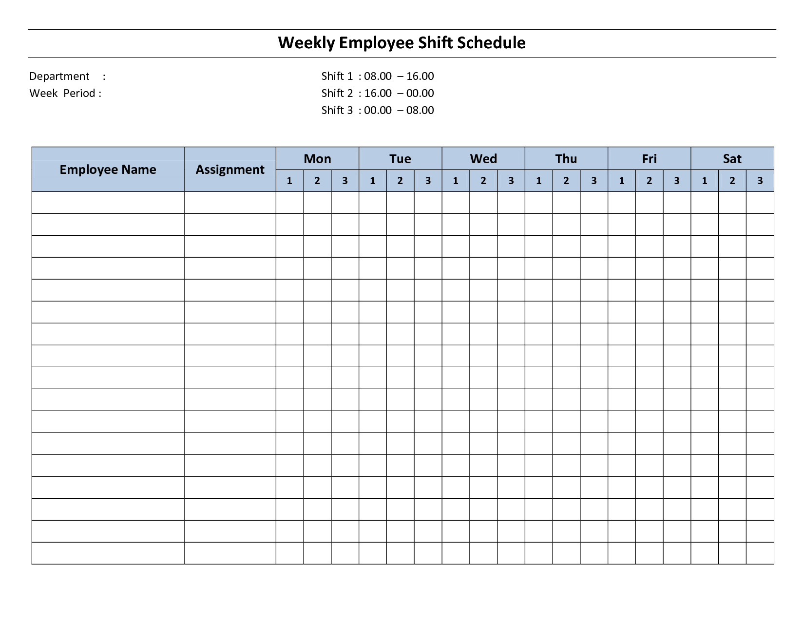 Weekly Employee Shift Schedule – 8 Hour Shift | Cleaning Hr Calendar And Sample