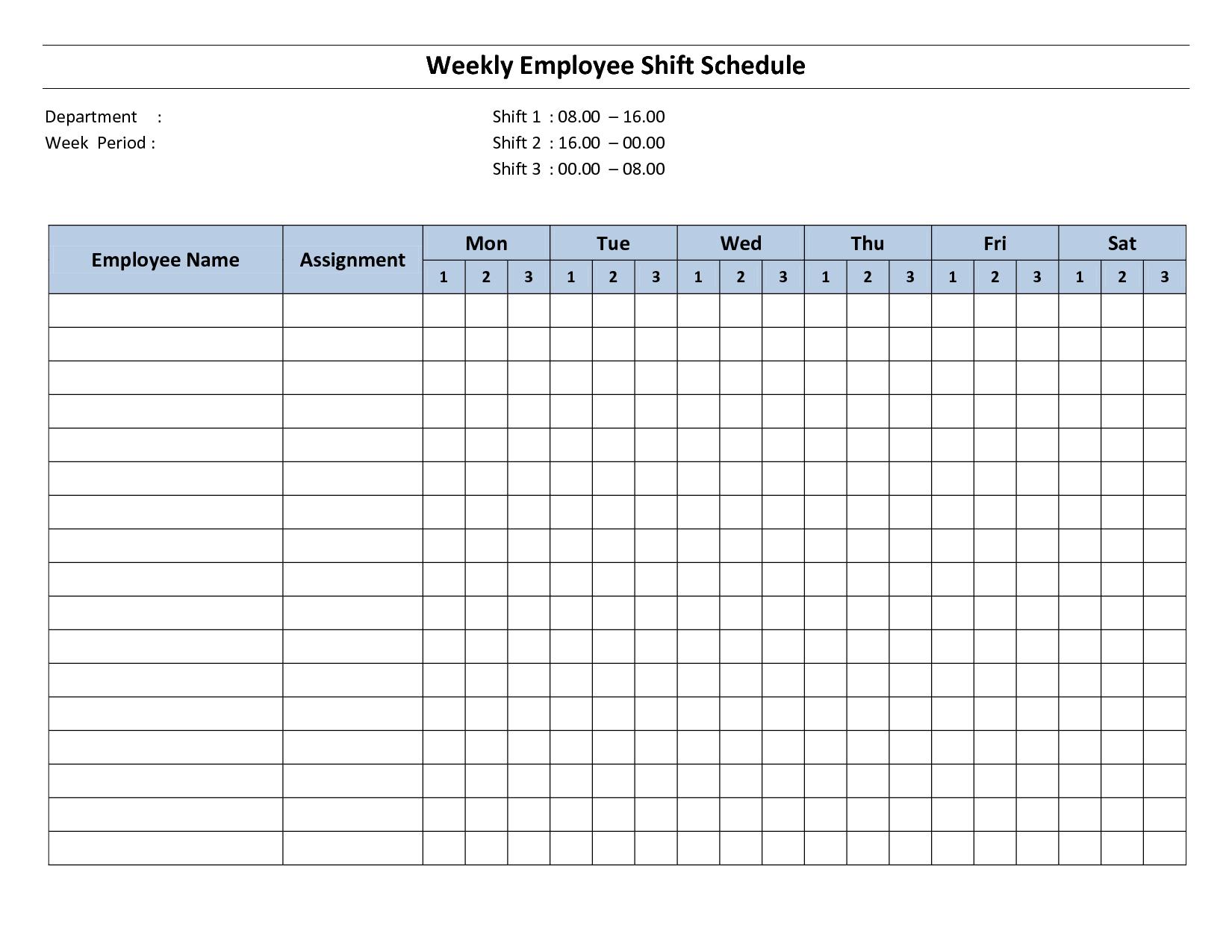 Weekly Employee Shift Schedule – 8 Hour Shift | Cleaning Sample 2 Week Calendar