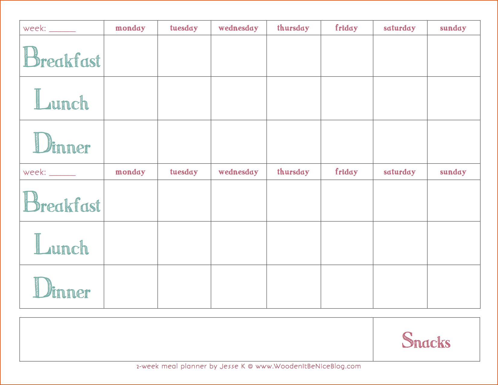 Weekly Meal Plan Template 2Weekmealplanner Coastal 5 Day Monthly Calendar Template Word