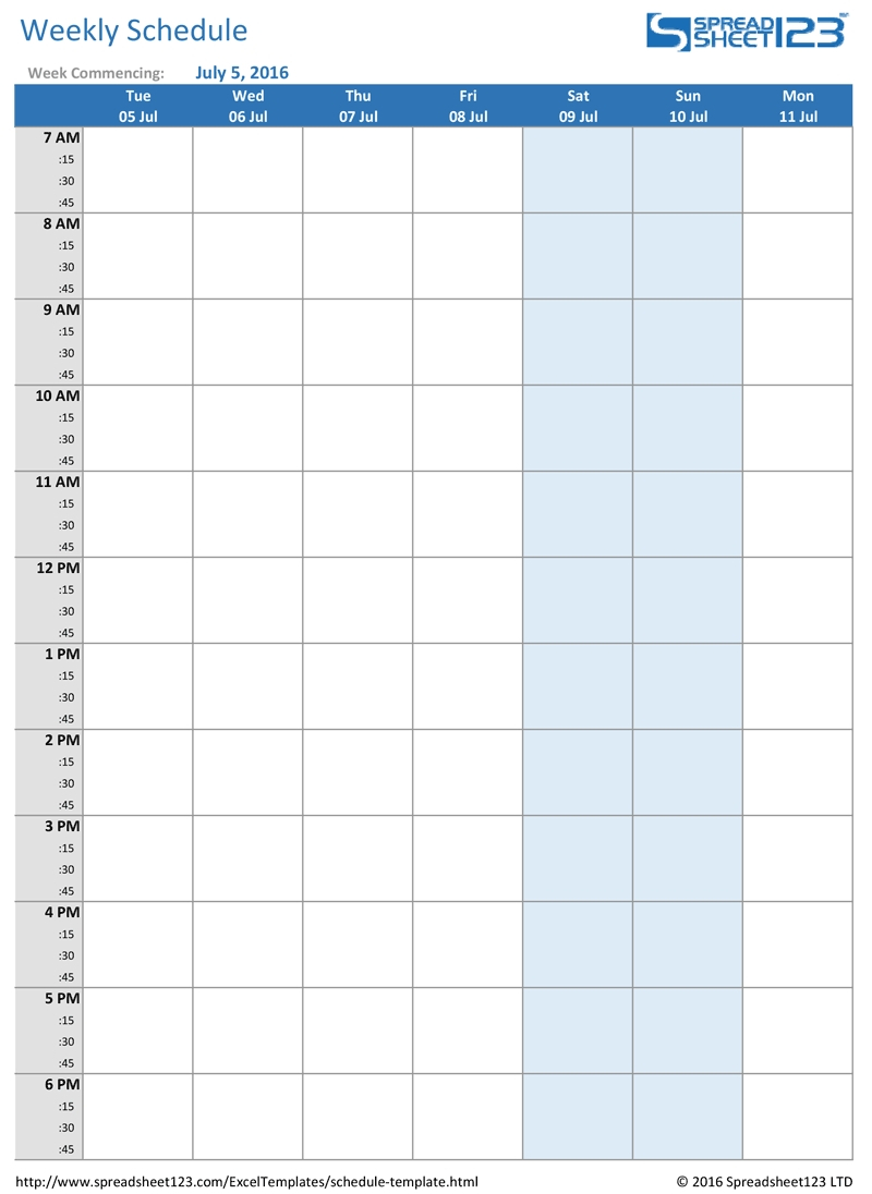 Weekly Planner With Time Slots Word Template – Calendar Print 8 Week Calendar